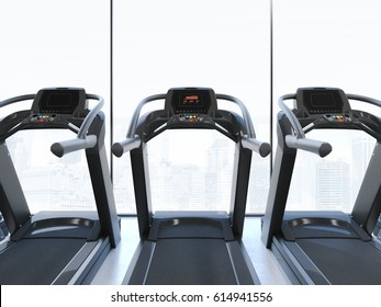 Treadmills in interior with big windows on the top floor. 3d rendering