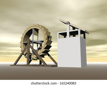 Tread-wheel machine-gun, crossbow designed by Leonardo da Vinci (1470-1520)