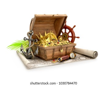 Treasure chest. 3D Illustration
