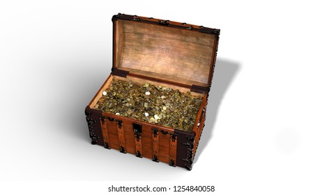 Treasure chest with golden coins, open vintage wooden box full of gold isolated on white background, 3D rendering