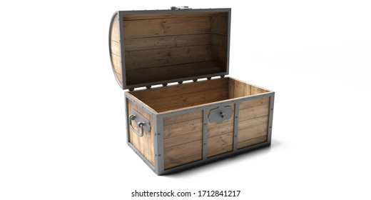 Treasure chest isolated against white background. Old wooden trunk empty with open lid. 3d illustration