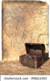 Treasure Chest & Map An open treasure chest on the sand in front of an old map. Isolated on white. 3d rendering