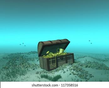 Treasure chest under the sea