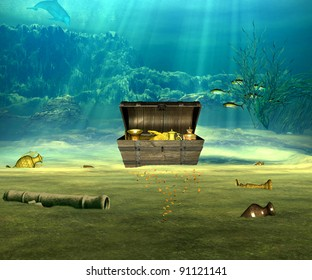 The treasure chest with valuable objects underwater.