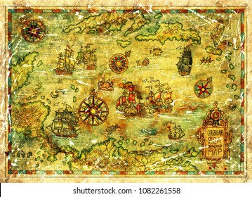 Treasure island map of Caribbean Sea with ships and compasses. Decorative antique background with nautical chart, adventure treasures hunt concept, watercolor hand drawn illustration