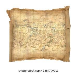Treasure Map 3D illustration on white background