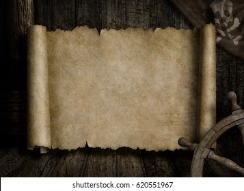 treasure map frame over other pirates accessories 3d illustration