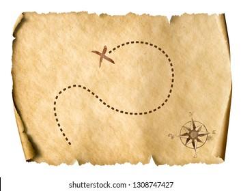 treasure map isolated simple 3d illustration
