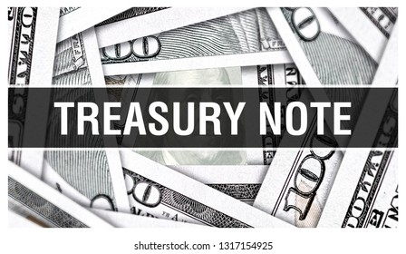 Treasury Note Closeup Concept. American Dollars Cash Money,3D rendering. Treasury Note at Dollar Banknote. Financial USA money banknote and commercial money investment profit concept