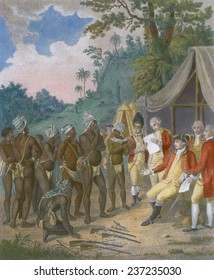 Treaty conference between the black Carib chiefs of St Vincent Island with British soldiers in 1773, 1801 engraving with modern color.