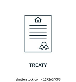 Treaty icon. Simple element illustration. Treaty outline icon design from real estate collection. Web design, apps, software and print usage.