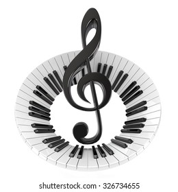 Treble clef in abstract piano keyboard. Symbol of music. 3D render illustration isolated on white background