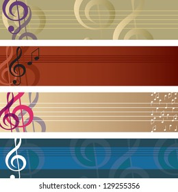 Treble Clef Banner Set Set of four decorative musical banners with treble clef and stave design