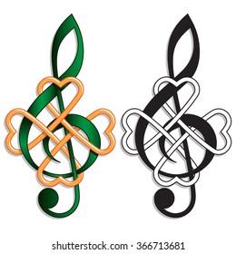 Treble Clef Celtic Knot Irish Music. Musical motif for an Irish or St Patrick's Day theme