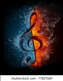 Treble clef in fire and water. Illustration of the treble clef enveloped in elements isolated on black background. High resolution treble clef in fire and water image for a musical concert poster.