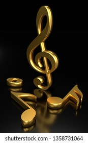 Treble clef and music notation. 3D rendering.