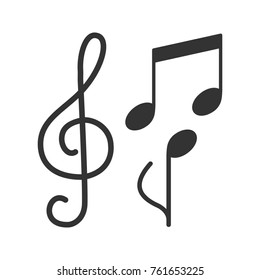 Treble clef and musical notes glyph icon. Music silhouette symbol. Negative space. Raster isolated illustration