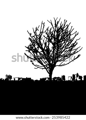 5f1b11f9cb2 Tree - bare branches - with city landscape afar - black silhouette - on  white background - isolated illustration - space for text - easy to change  color - ...