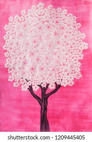 Tree in blossom with white flowers on pink background, watercolor painting, vertical.