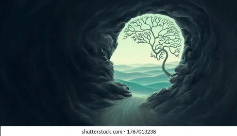 Tree brain with human head cape, idea concept of thinking  hope freedom and mind , surreal artwork, dream art , fantasy landscape, imagination spiritual of nature