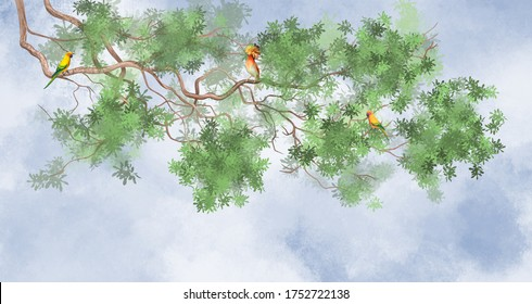 Tree branch on top. With tropical birds on a sky background