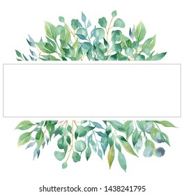 Tree branches aquarelle hand drawn raster frame template. Olive and laurel leaves line border for text. Natural, green poster, banner decor. Summertime greenery isolated design elements