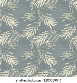 Für Tree Branches Seamless Pattern. Watercolor Illustration.