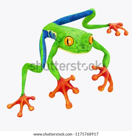 Tree Frog isolated on White Background. 3D illustration