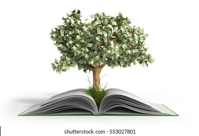 tree growing from book A big open book with coins and tree Reading makes you richer concept 3d render