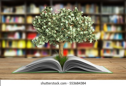 tree growing from book A big open book with tree Reading makes you richer concept 3d render on wood in librury