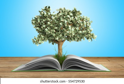 tree growing from book A big open book with tree Reading makes you richer concept 3d render on gradient