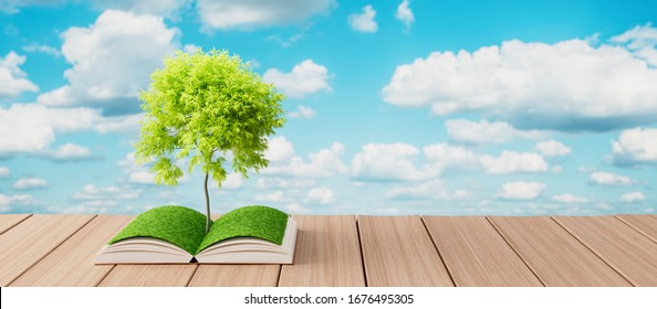 Tree growing from open book on wooden table, Knowledge concept 3d render 3d illustration