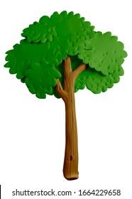 Árbol hecho a mano con plasticina o arcilla. Aislado sobre fondo blanco - Ilustración 3D