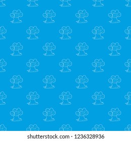 Tree house con. Outline illustration of tree house pattern seamless blue repeat for any use