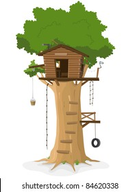 Tree House/ Illustration of a cartoon tree house in big oak isolated on white background