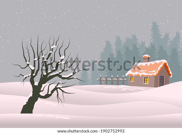 A tree and house in the winter season.