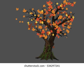 tree, isolated, illustration, autumn, leafs, illustration, art, derivative material, cartoon