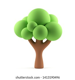 Tree isolated on a white background. 3d rendering