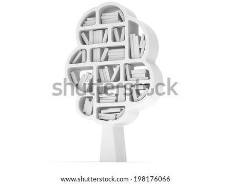 Tree Of Knowledge 3d Bookshelf On White Background Studying Illustration