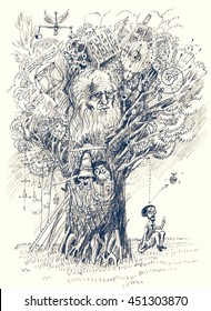 Tree of Knowledge. Back to school. Scientist makes discovery. Metaphor of scientific thought. Pencil drawing
