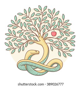 Tree the knowledge of good and evil with snake, apple. Colorful design. Illustration