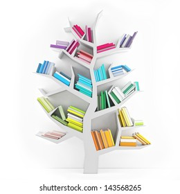 Tree of Knowledge, White Shelf with Multicolor Books Isolated on White Background