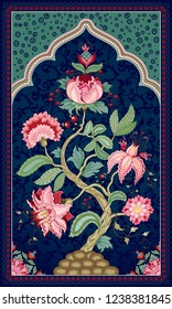 Tree of Life in beautiful indian decorative frame. The motives of the paintings of ancient Indian fabrics. Dark backdrop