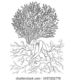 Tree of life. Girl has hair-branch with leaves and dress with roots. Tenderness, elegant, sensual, birth of nature. Spring mood. Love atmosphere. Personal grow, healing, connection with mother earth
