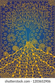 The tree of life. Graphic art symbolic picture. Symbol, metaphor of life and growth. Yellow pattern on a blue substrate.