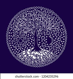 The tree of life. Graphic art symbolic picture. Mandala Symbol, metaphor of life and growth. White drawing on a blue substrate.