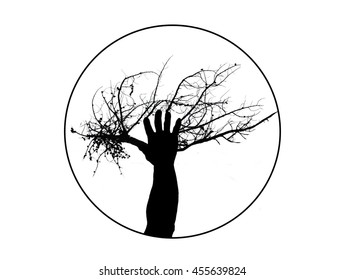 Tree of Life Illustration of a Tree and Human Hand as One Silhouette