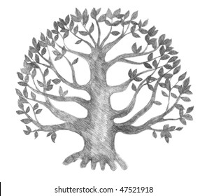 tree of life silhouette, pencil drawing, illustration