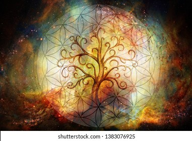 tree of life symbol and flower of life and space background, yggdrasil.