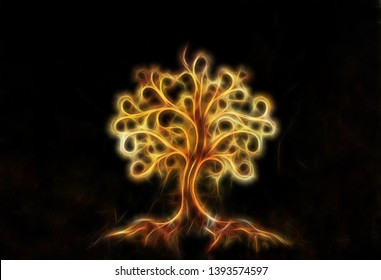 tree of life symbol on structured ornamental background, yggdrasil. Fractal effect.